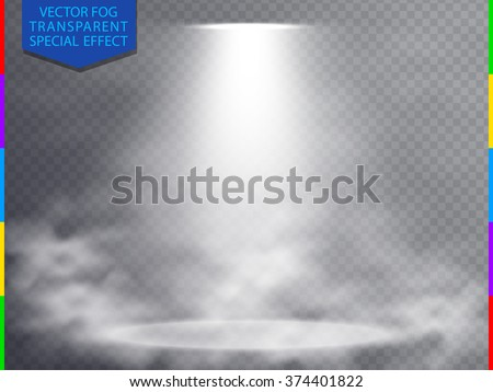 White vector spotlight scene in fog light effect concept isolated on transparent background. Concert show scene with smoke illuminated by glow ray. Mystery, magic, fantasy and romance abstract - stock vector