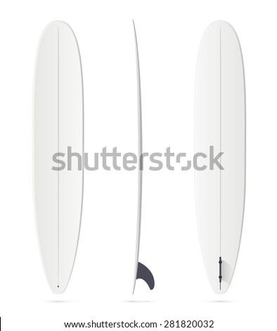 White vector surfing board template: longboard - stock vector