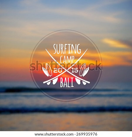 White vector surfing camp logo on blurred ocean sunset photo background - stock vector