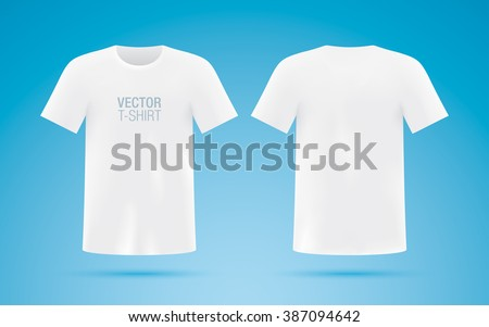 White vector T-shirt. Front & back sides. - stock vector