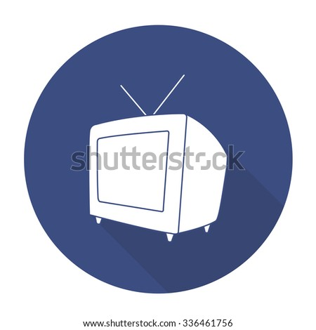White vector television on color circle background. - stock vector