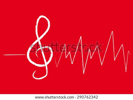 White Vector Treble Clef with Pulse on Red Background - stock vector