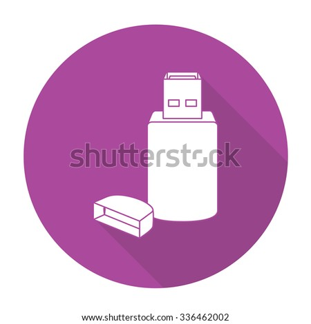 White vector USB on color circle background. - stock vector