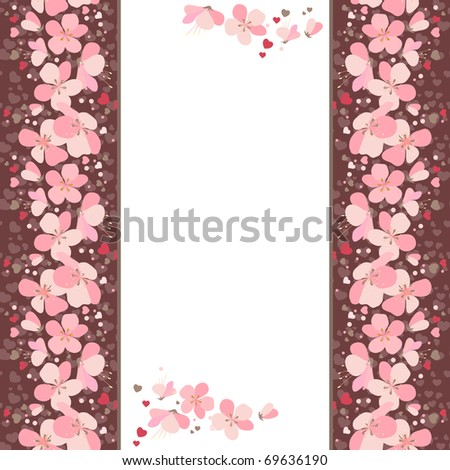 White vertical frame with pink cherry flowers - stock vector
