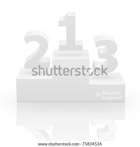 White victory podium with first, second and third places - stock vector