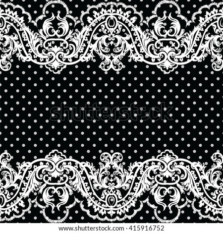 White vintage Lace Crochet pattern. Damask classic lace pattern with floral and dotted ornament in Victorian style. Black polka dotted background Vector lace - stock vector