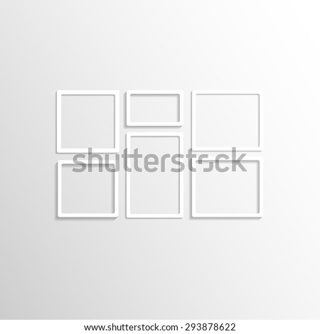 white wall frames collage vector mockup - White Wall Frames