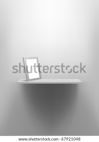 White wall shelf with blank photo frame. - stock vector