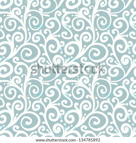 White waving curls similar to winter frosty window look on silver grey, seamless vector pattern. Texture for web, print, home decor, textile, wrapping paper, wallpaper, wedding invitation background - stock vector