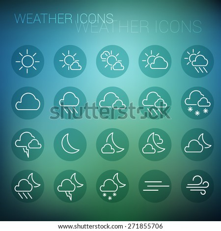 White weather icon set in dark circles and blurred background - stock vector