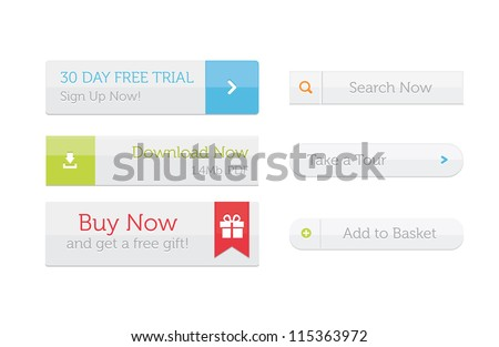 White web buttons set - eps8 flat color. - stock vector