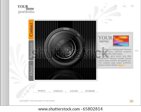 white web site, portfolio photographer with a lens - stock vector
