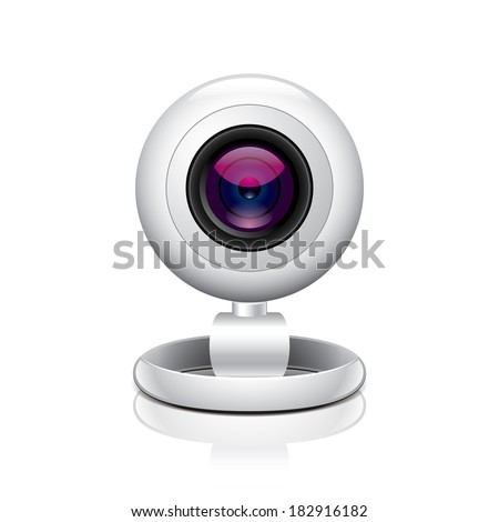 White webcam isolated on white photo-realistic vector illustration - stock vector