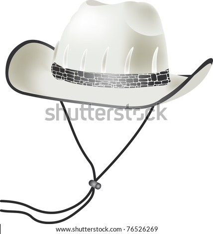 White west cowboy cap - stock vector