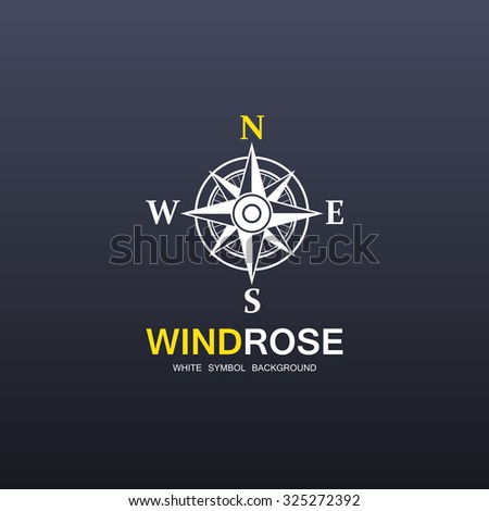 White wind rose sign isolated on dark background. eps10 - stock vector