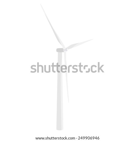 White wind turbine vector icon isolated, wind energy, wind power - stock vector