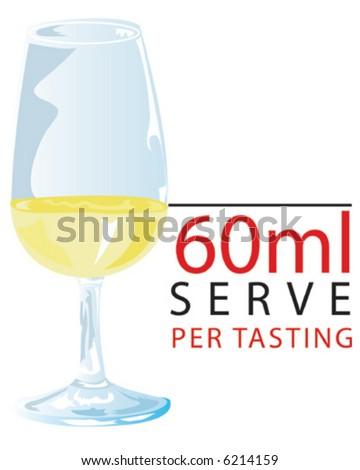 White Wine Tasting - 60ml Serve - stock vector