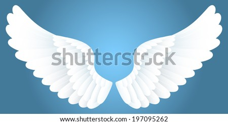White wings on blue background. - stock vector