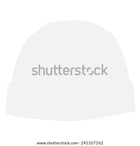White winter hat  vector isolated, snowboarding hat - stock vector