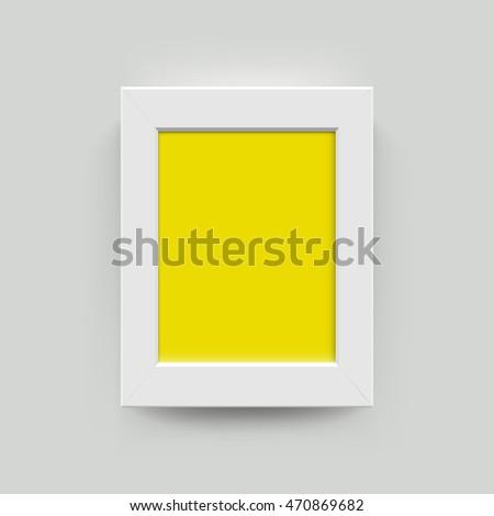 White Yellow Blank Photo Frame Wall Vector de stock470869682 ...