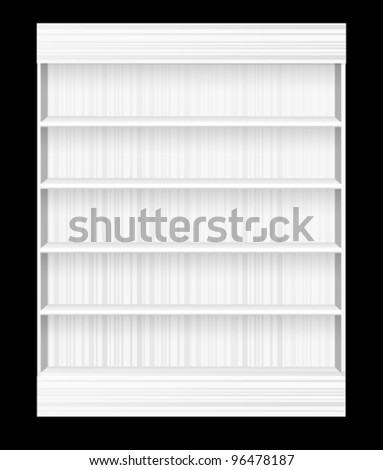 white Wooden book Shelf - stock vector