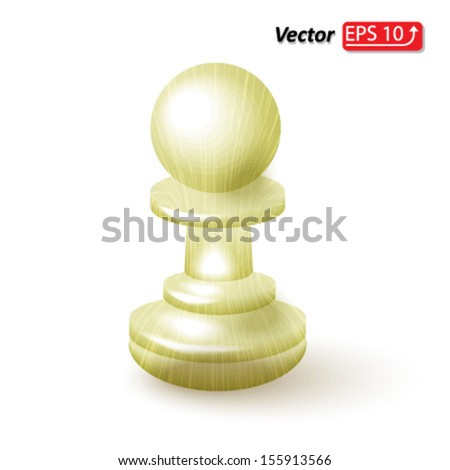 white wooden pawn , chess piece , chess icon, chess figure , isolated on white background vector - stock vector