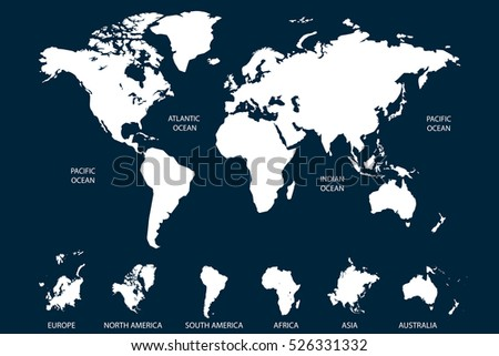 White world map vector on blue background. Continents and oceans. Europe. Asia. North America. South America. Africa. Australia.
