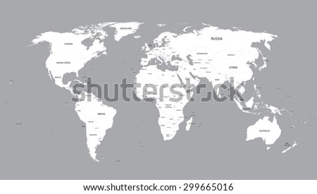 white world map with names of all countries - stock vector
