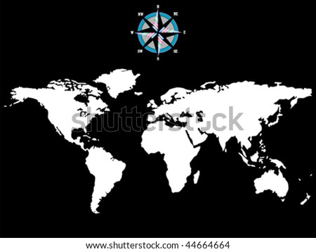 white world map with wind rose isolated on black background, abstract art illustration