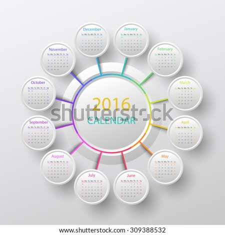 White 2016 year circle calendar infographic style - stock vector
