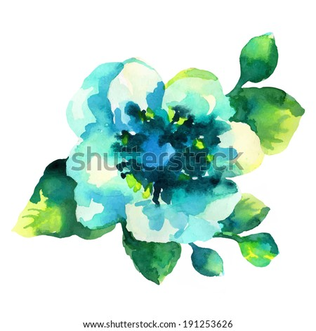 white yellow flower, watercolor painting - stock vector