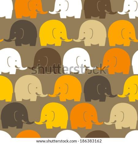 white, yellow, orange, brown elephants on brown seamless pattern - stock vector