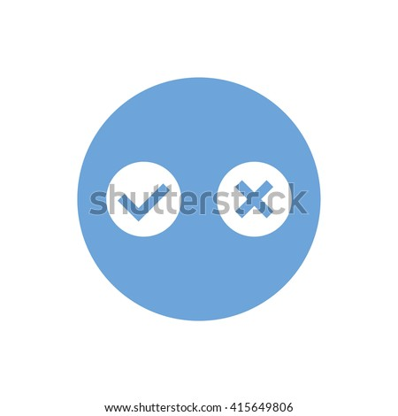 White yes or no vector sign. Blue circle. Blue button