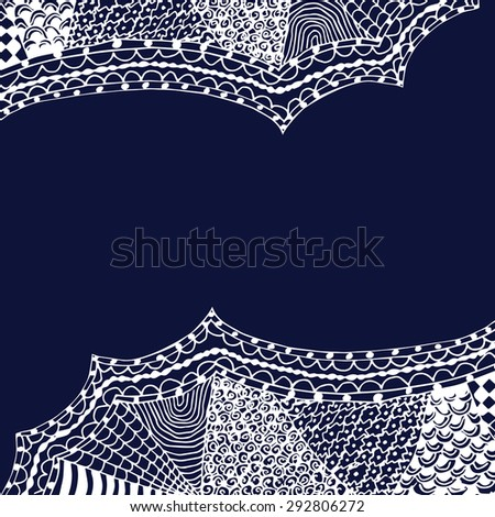 white zentangle hand drawn ornament on blue backdrop vector illustration
