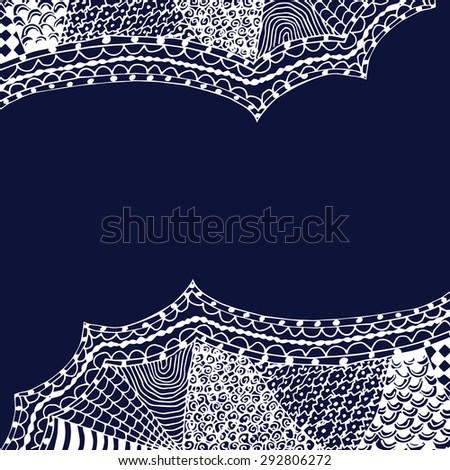 white zentangle hand drawn ornament on blue backdrop vector illustration - stock vector