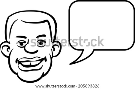 whiteboard drawing - black man face with speech bubble - stock vector