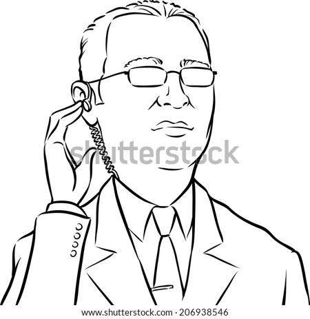 whiteboard drawing - cartoon bodyguard - stock vector