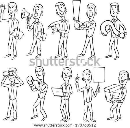 whiteboard drawing - cartoon business figures. Easy-edit layered vector EPS10 file scalable to any size without quality loss. - stock vector