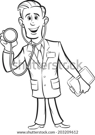 whiteboard drawing - cartoon funny doctor with stethoscope - stock vector
