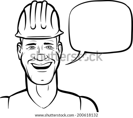 Whiteboard Drawing Cartoon Smiling Construction Worker Stock