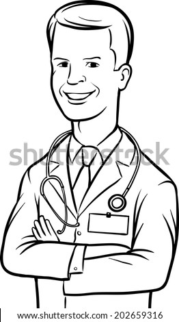 whiteboard drawing - cheerful doctor arms crossed