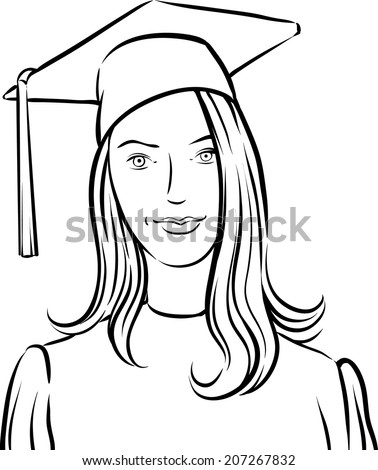 whiteboard drawing - graduate girl - stock vector