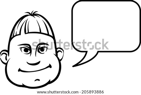 whiteboard drawing - silly face with speech bubble - stock vector