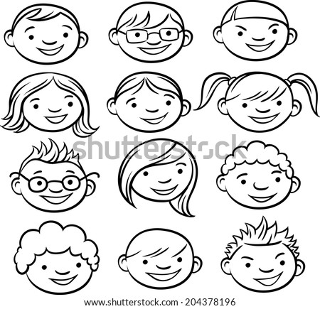 whiteboard drawing - smiling kids faces - stock vector