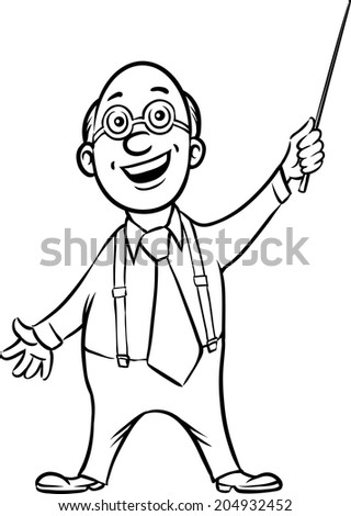whiteboard drawing - smiling professor with pointer - stock vector