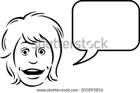 whiteboard drawing - surprised face with speech bubble - stock vector