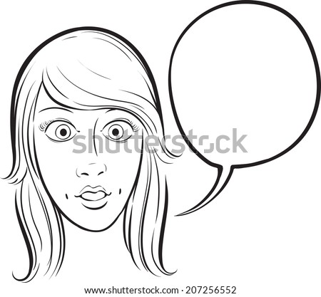 whiteboard drawing - surprised girl face with speech bubble - stock vector