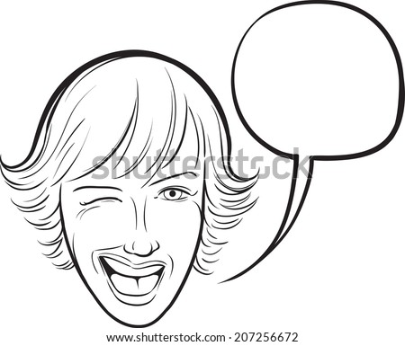 whiteboard drawing - winking young woman with speech bubble - stock vector
