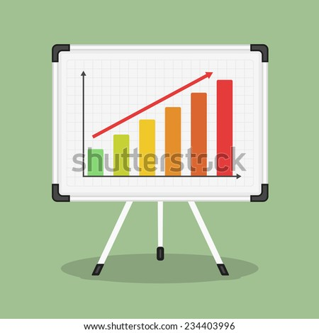 Whiteboard with growing bar graph, vector eps10 illustration - stock vector