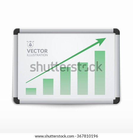 Whiteboard with growing bar graph. Vector illustration